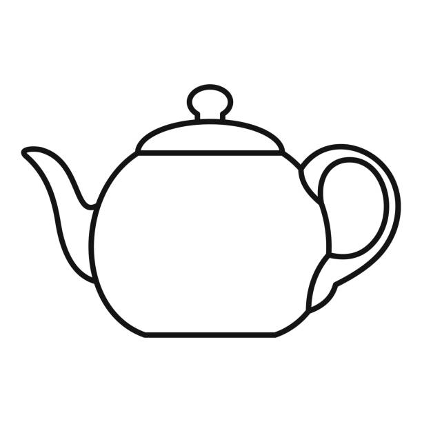 Big teapot icon, outline style Big teapot icon. Outline illustration of big teapot vector icon for web teapot stock illustrations