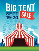 Big tent sale fesitval fair background poster with space for your copy. EPS 10 file. Transparency effects used on highlight elements.