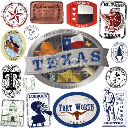 Series of stylized retro/vintage decals, belt buckle and passport style stamps of different Texas Locations.