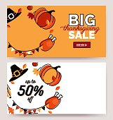 Big thanksgiving sale posters. Beautiful autumn background with holiday symbols. Vector illustration