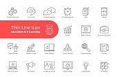 big thin line set of e-learning and education with text