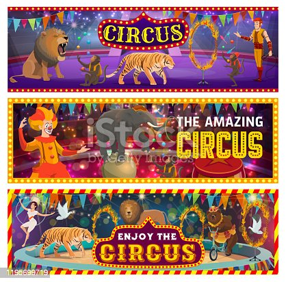 Circus show on big arena, clowns, jungles and trained animals. Vector tamer in big top circus, roaring lion and wild tiger. Juggling monkeys, elephant on ball, gymnast and burning circles, dove birds