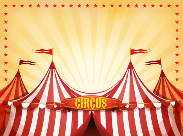 big top circus background with banner - circus stock illustrations