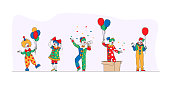 istock Big Top Circus Clowns. Funny Carnival Funsters Characters, or Jesters in Bright Costumes, Performing Show on Stage 1263446120
