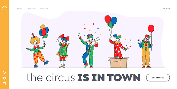 Big Top Circus Clowns Landing Page Template. Funny Carnival Funsters Characters or Jesters in Bright Costumes, Periwig