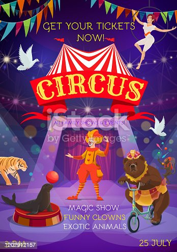 Circus entertainment show. Animals, clowns, equilibrists and magic show performance. Vector big top circus carnival tent, bear on bicycle, seal balancing balloon and monkey juggling pins