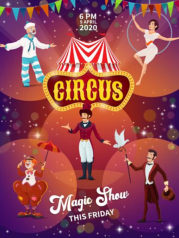 Big top circus magic show poster vector template