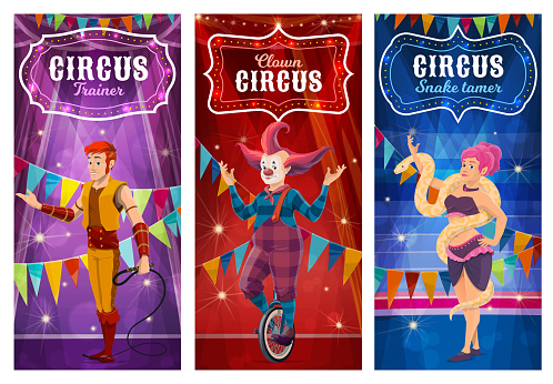 Big top circus performers, entertainers posters