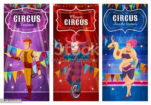 istock Big top circus performers, entertainers posters 1291540063