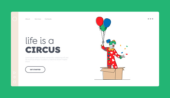 Big Top Circus Show Artist Landing Page Template. Female Clown Character Pop Up from Huge Carton Box with Balloons