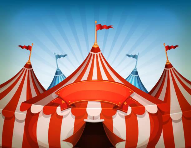 illustrazioni stock, clip art, cartoni animati e icone di tendenza di grande top tende di circo con bandiera - funfair entrance