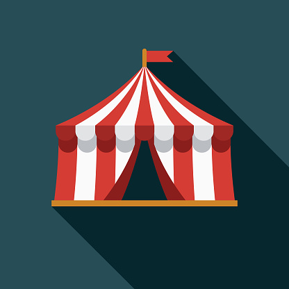 Big Top Flat Design Carnival Icon with Side Shadow