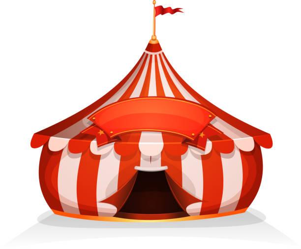 stockillustraties, clipart, cartoons en iconen met grote top weinig circustent met banner - mini amusementpark