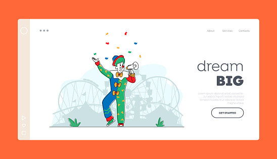 Big Top Tent Artist Announcement Buffoon Yell to Megaphone Landing Page Template. Animator Character in Funny Clown Suit