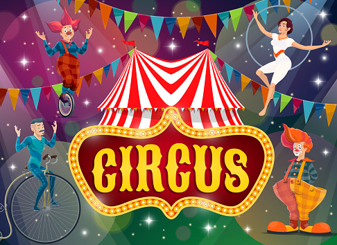 Big top tent circus show performers vector poster