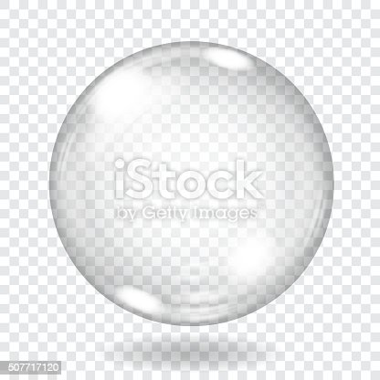 Big transparent glass sphere with glares and shadow. Transparency only in vector file. Vector illustrations. EPS10 and JPG are available