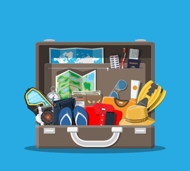 stockillustraties, clipart, cartoons en iconen met grote reisset. zomervakantie, toerisme, vakantie - pak