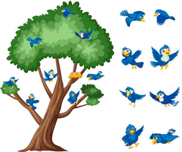 Großer Baum und blaue Vögel fliegen auf weißem Hintergrund – Vektorgrafik