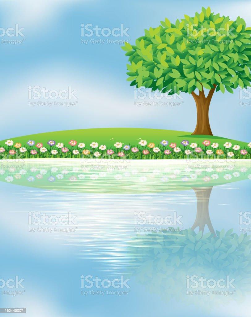 big tree near the river royalty-free stock vector art