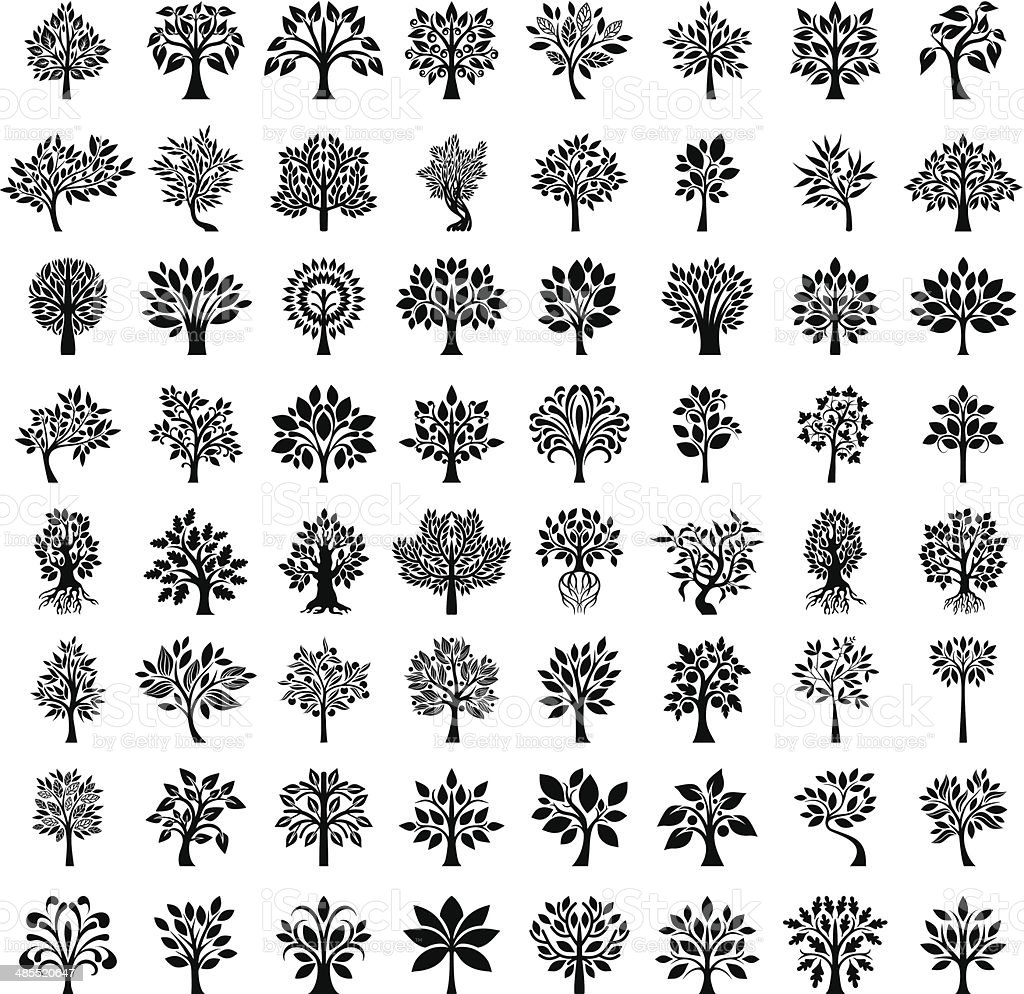 Big tree set vector art illustration