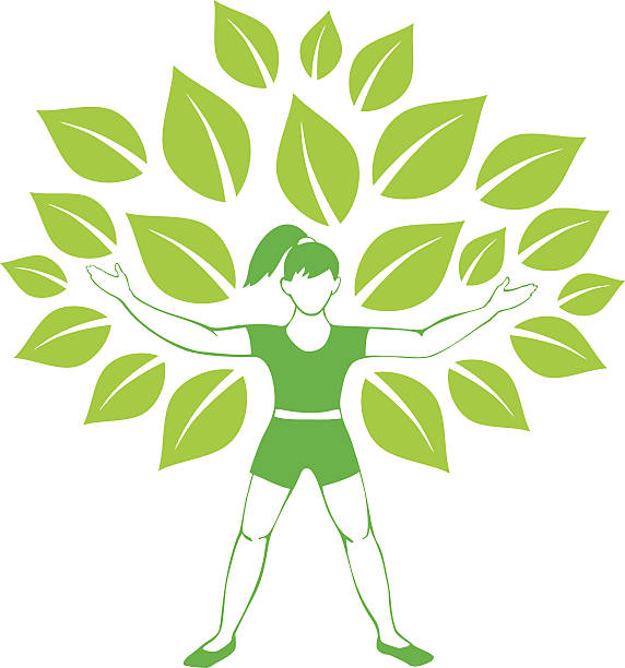 Big tree Girl doing yoga qigong stock illustrations