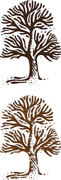 Big tree woodcut illustration vector art illustration