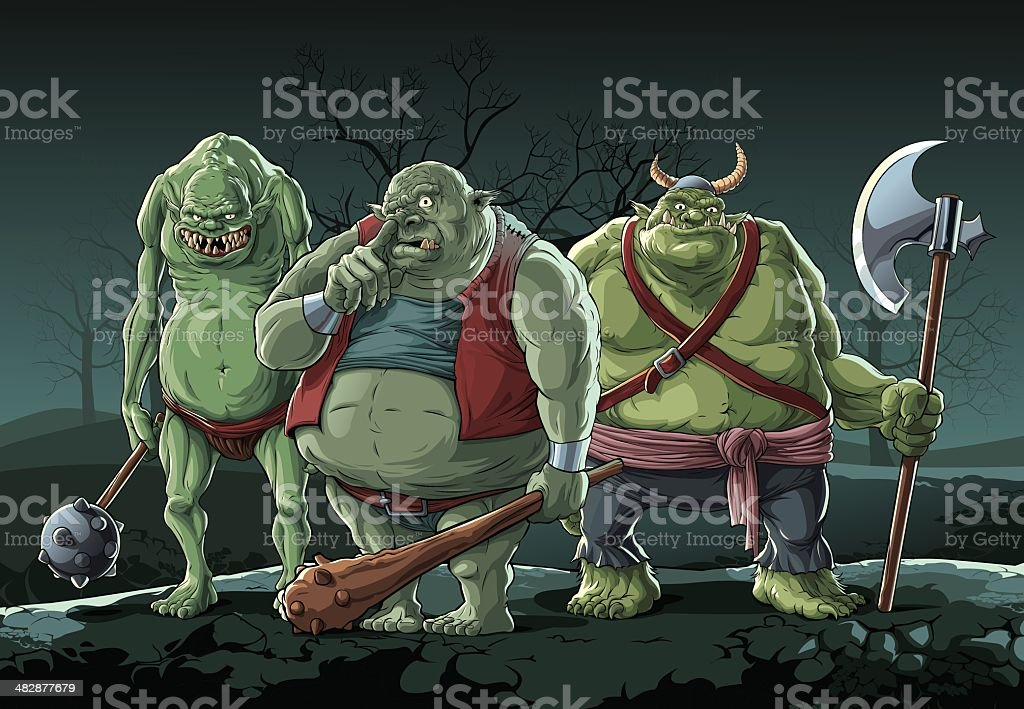 Big trolls (Orc) Three big trolls in night forest. Axe stock vector