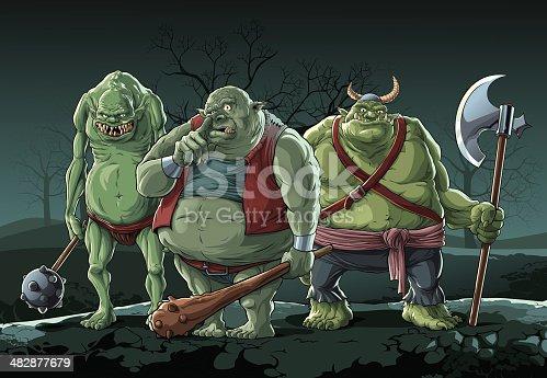 Three big trolls in night forest.