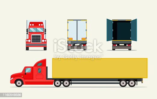 Big truck with trailer. Front, side behind view and open door truck. Vector flat illustration