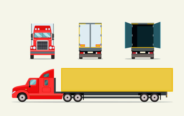 Big truck with trailer. Front, side behind view and open door truck. Vector flat illustration Big truck with trailer. Front, side behind view and open door truck. Vector flat illustration semi truck stock illustrations