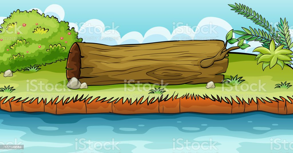 Big trunk beside the pond royalty-free stock vector art