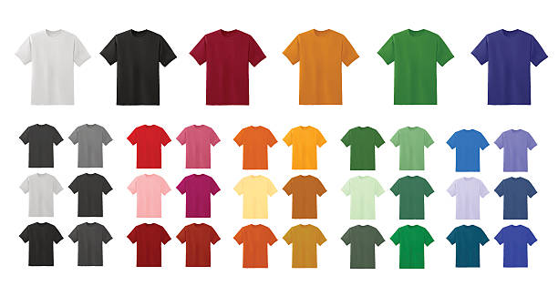 stockillustraties, clipart, cartoons en iconen met big t-shirt templates collection of different colors - hemden en shirts