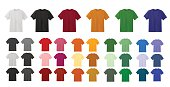 Big t-shirt templates collection of different colors