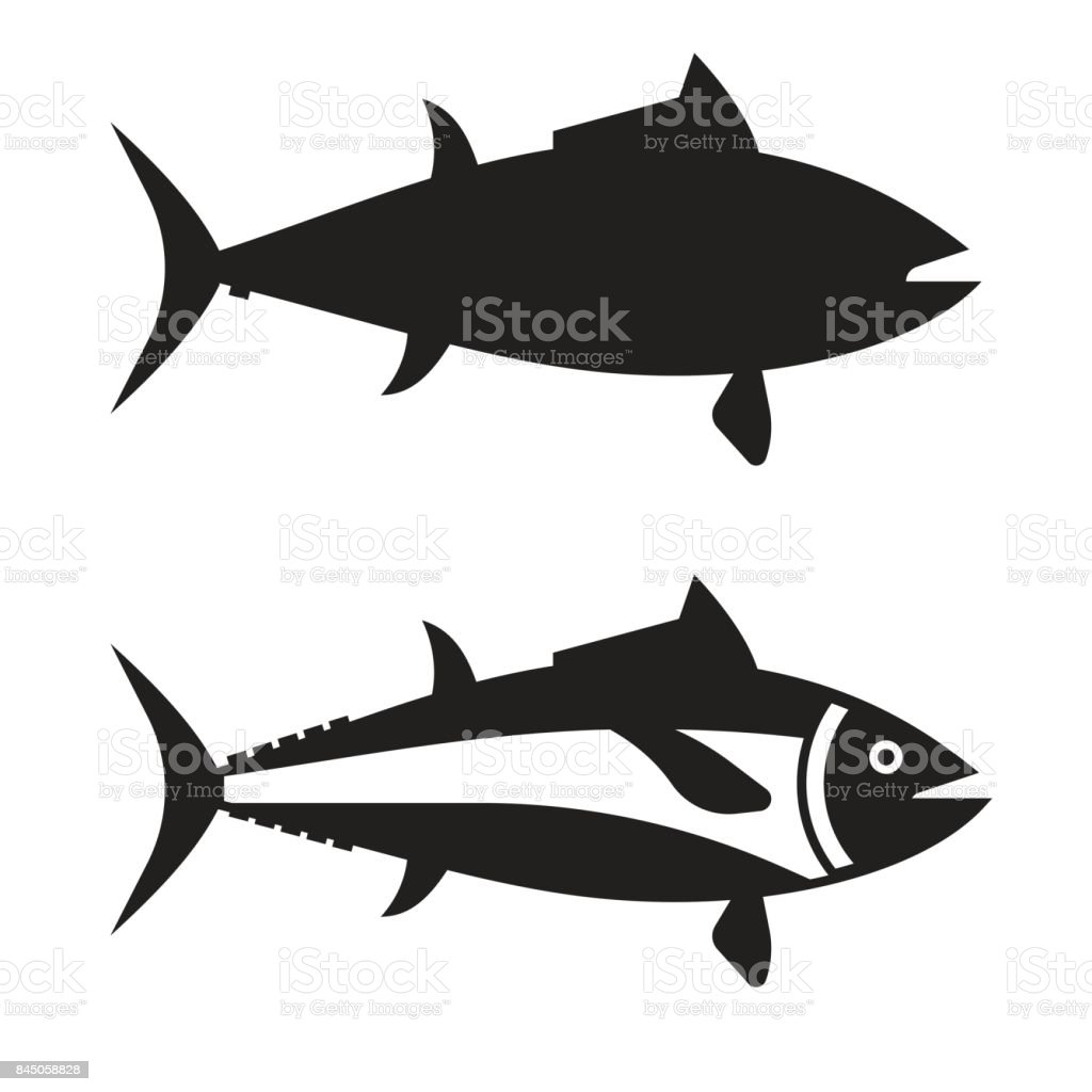 Big Tuna Fish Outline Icon vector art illustration