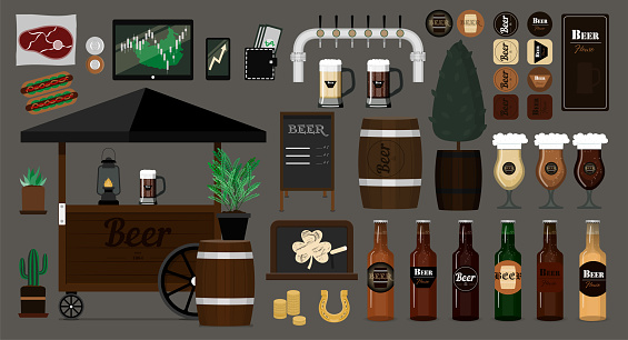 Big vector beer set. Items for the interior and exterior of the bar. Flat vector images of beer cart, glasses with different varieties of light and dark beer. Logos and objects isolated on a gray background.