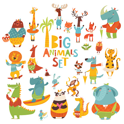 Big vector cartoon set of Wild animals funny characters in flat style