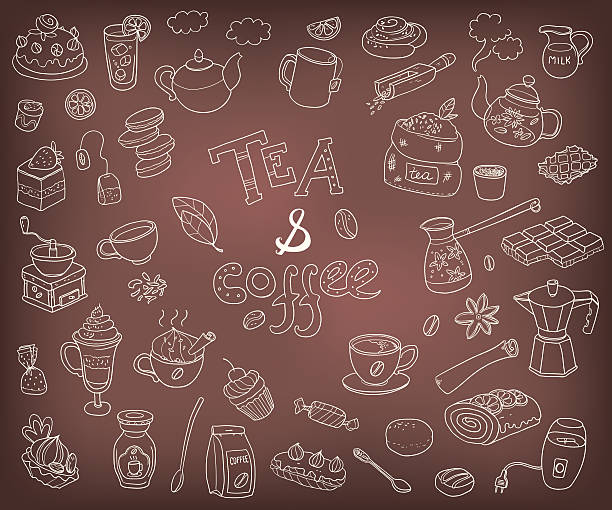 Big vector collection of doodle tae and coffee. Equipment  de - Illustration vectorielle