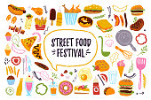 Big vector fast food festival set isolated on white background: burger, dessert, pizza, hotdog, chicken etc. Hand drawn sketch style, chalkboard drawing. Good for menu, banner, poster, flayer design.