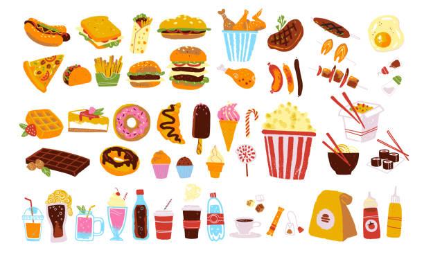 büyük vektör lokanta ve aperatif ayarla izole üzerinde beyaz arka plan: hamburger, tatlı, pizza, kahve, tavuk, wok, sığır eti vb - burger and chicken stock illustrations