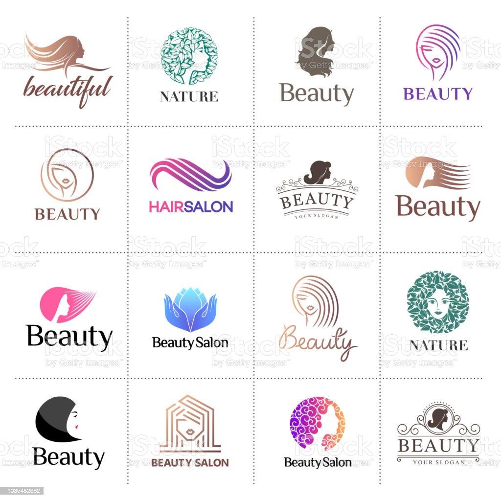Ícone grande vetor definido para salão de beleza, cabeleireiro, cosméticos - ilustração de arte em vetor