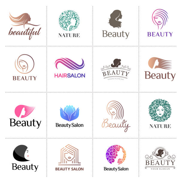 big vector icon set for beauty salon, hair salon, cosmetic - makeup fashion stock illustrations
