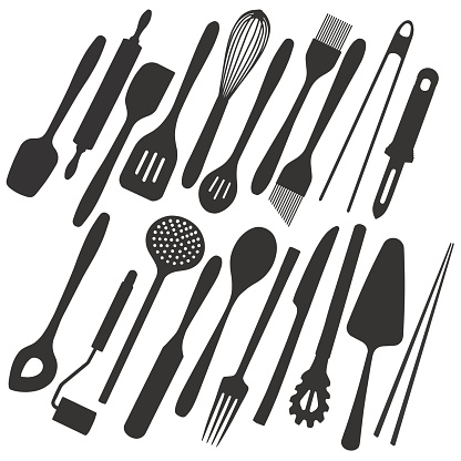 Big vector illustration collection of simple icons of different kitchen utensils and tools like cutlery, spatula, cake server or chopsticks for cooking, eating and baking