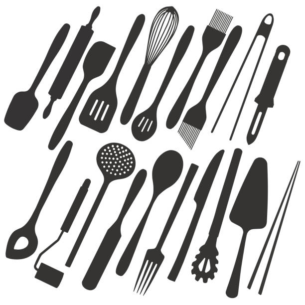 Big vector illustration collection of simple icons of different kitchen utensils and tools like cutlery, spatula, cake server or chopsticks for cooking, eating and baking silhouette icon set cooking silhouettes stock illustrations