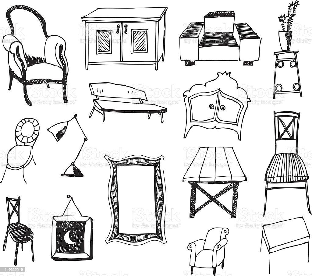 big vector set - furniture royalty-free stock vector art