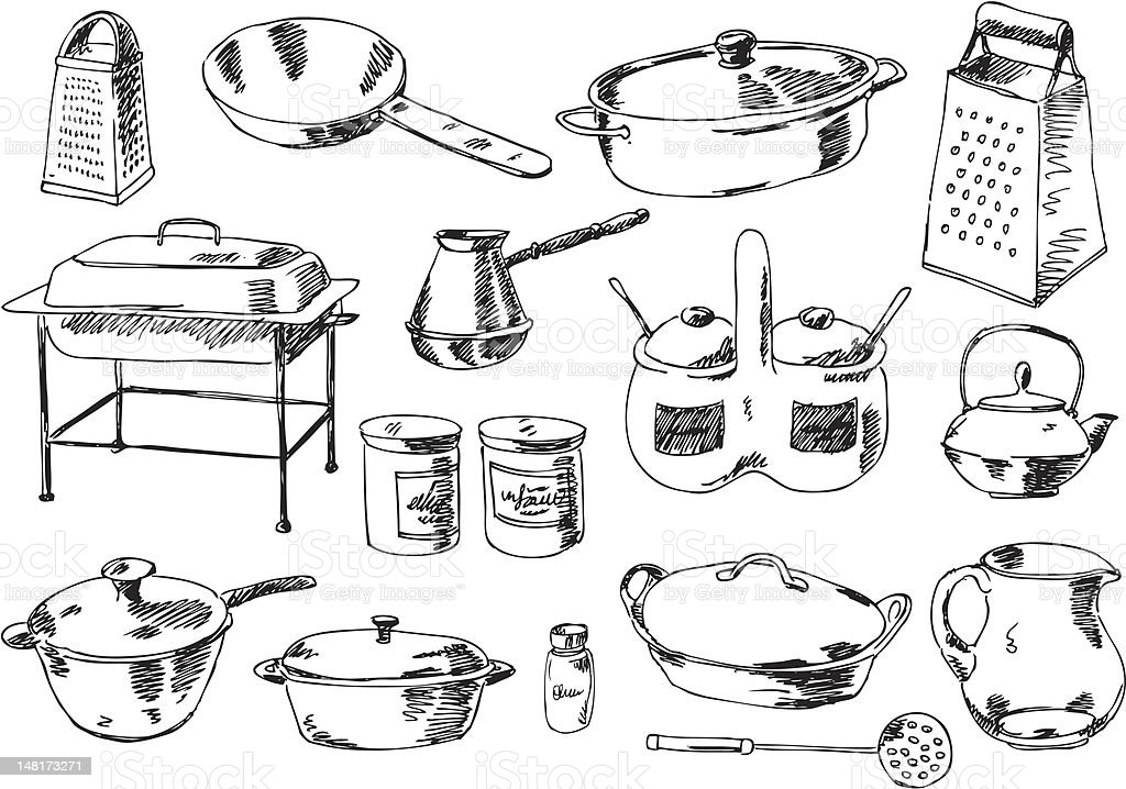big vector set - kitchen vector art illustration