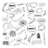 Big vector Set of comic Speech Bubbles, Arrow, Hand Drawn