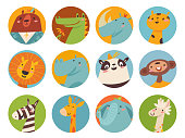 Big vector set of cute cartoon big animals faces in circle. Bundle of cute cartoon animals characters isolated on white background. Set of colorful vector illustrations in flat cartoon style.