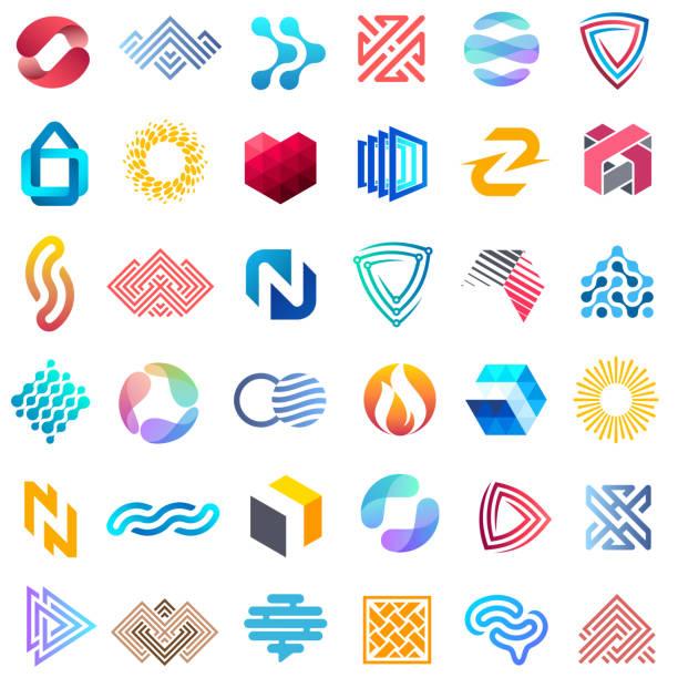 Big vector set of design icons. Unusual templates for business. Big vector set of design icons. Unusual templates for business. abstract icons stock illustrations