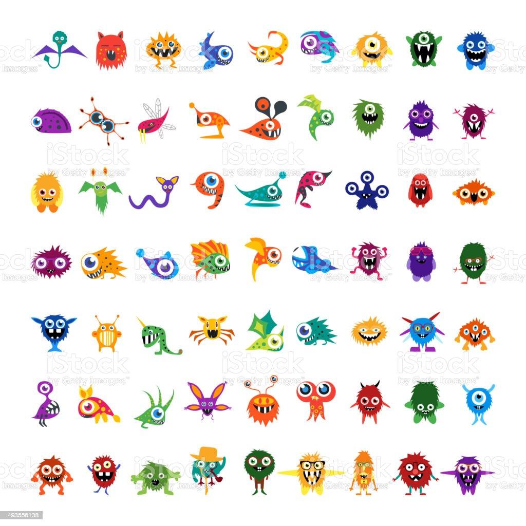 Grande conjunto de desenhos personalizados de vetor isolado colorido de personagens monstros - ilustração de arte em vetor