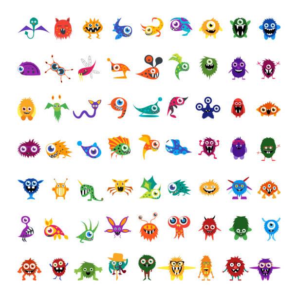 ilustraciones, imágenes clip art, dibujos animados e iconos de stock de big vector conjunto de coloridos personajes de dibujos exclusivo aislado monstruos - monstruo